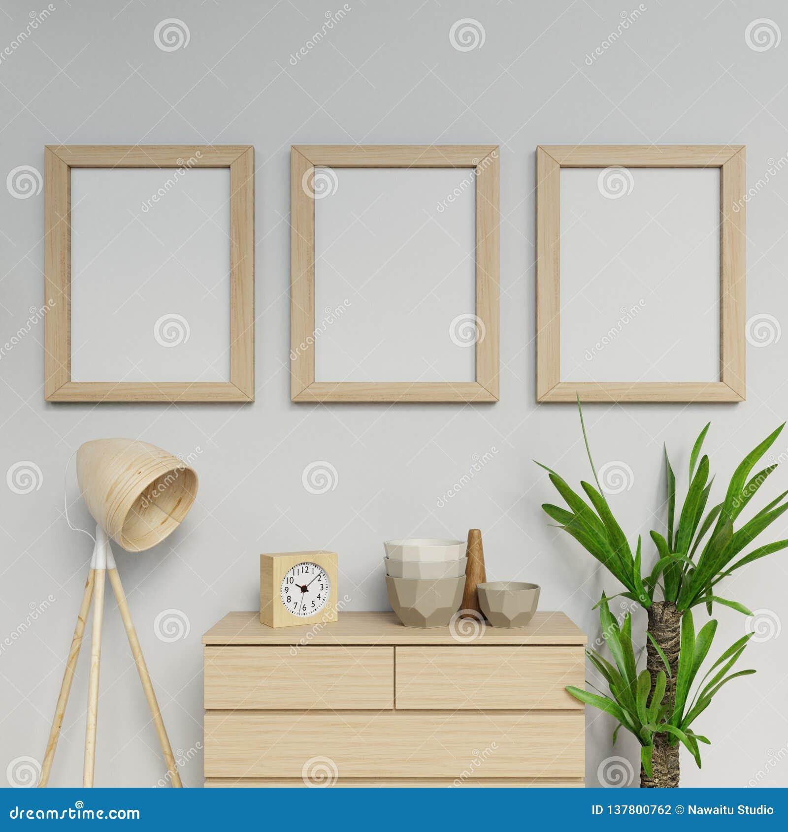 3d illustratie geeft van Skandinavisch huis binnenlandse drie a2-grootteaffiche klaar om spot met houten kader het hangen vertica