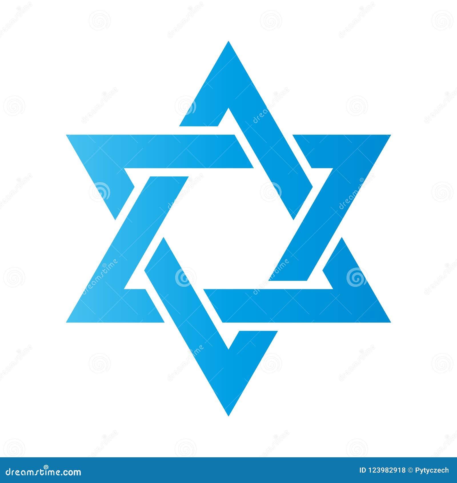 3D illustratie Hexagramteken Symbool van Joods identiteit en Judaïsme Eenvoudige vlakke blauwe illustratie