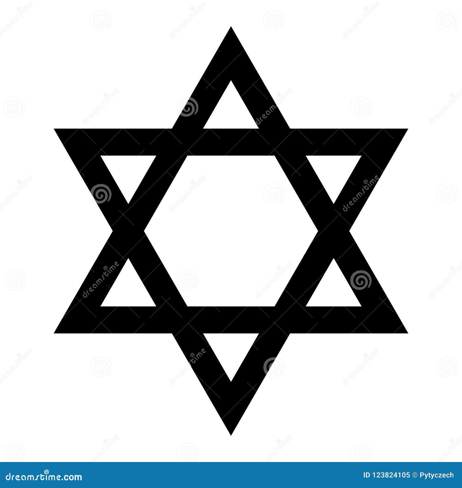 3D illustratie Hexagramteken Symbool van Joods identiteit en Judaïsme Eenvoudige vlakke zwarte illustratie