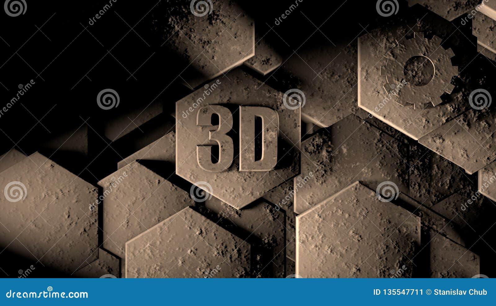 3D illustratie van abstracte futuristische achtergrond van vele verschillende zeshoeken, honingraatsteen met krassen en oude roes