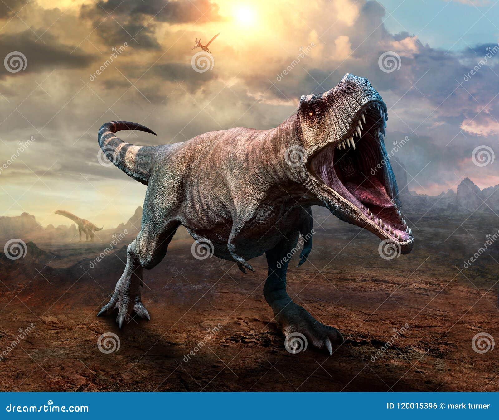 3D illustratie van de tyrannosaurus rex scène