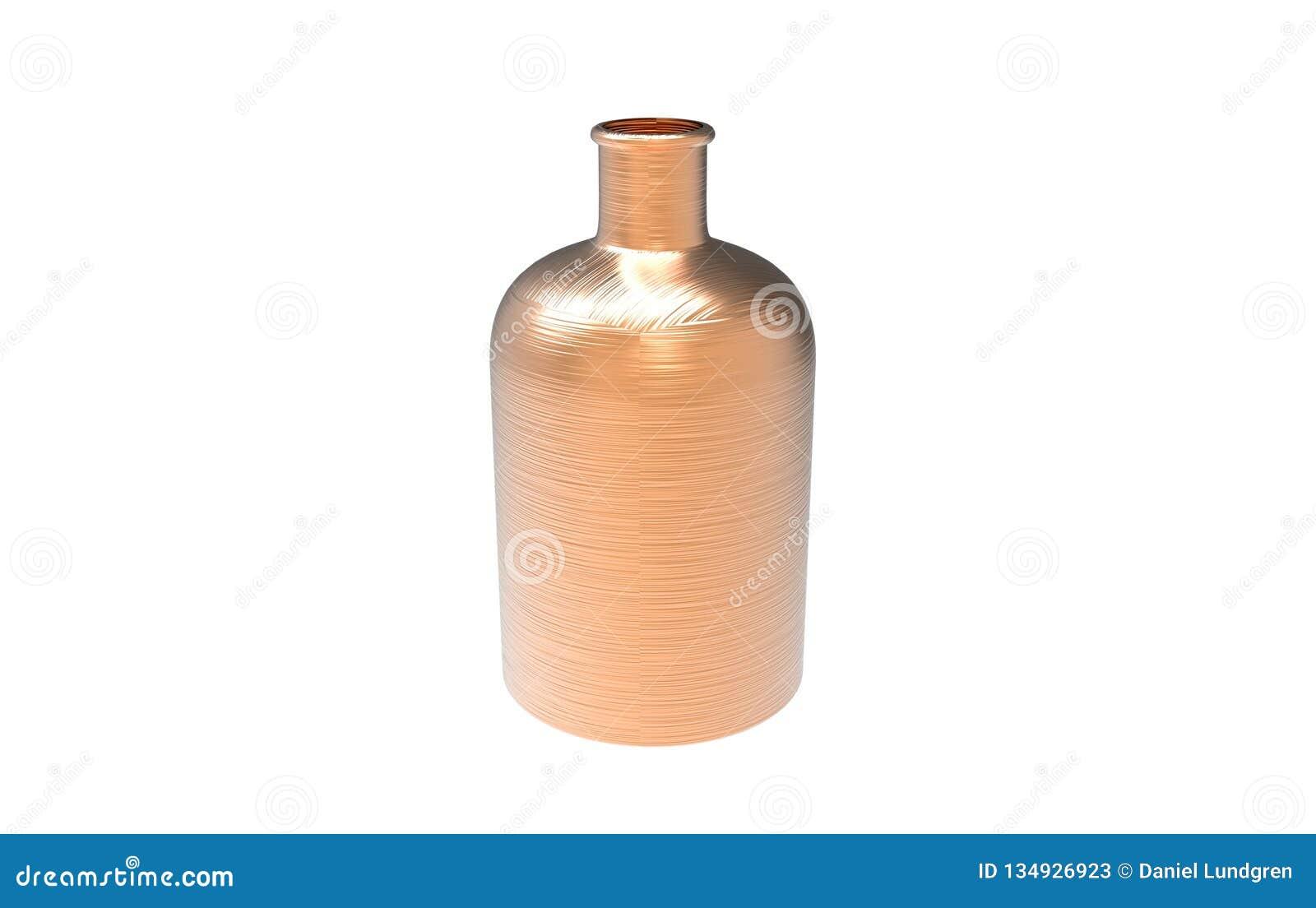 3d illustratie van decoratieve die fles in koperkleur op een witte achtergrond wordt geïsoleerd