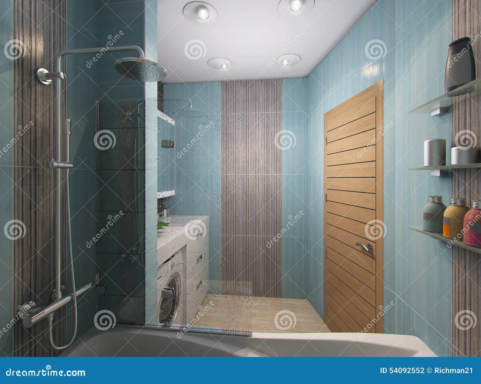 3D illustratie van een badkamers in turkooise tonen