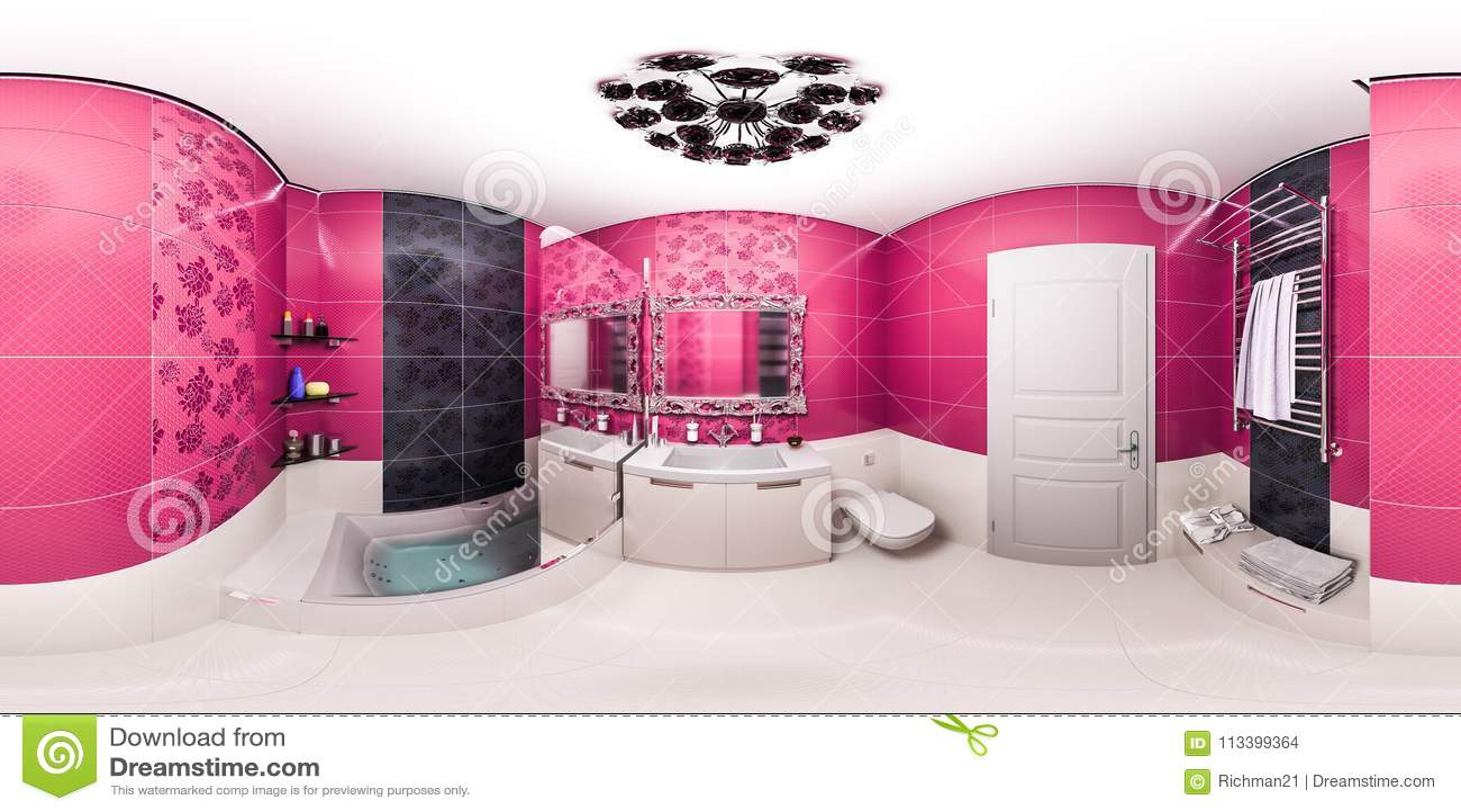 Art Deco Badkamer : D illustratie van een heldere badkamers in een art deco stijlflat