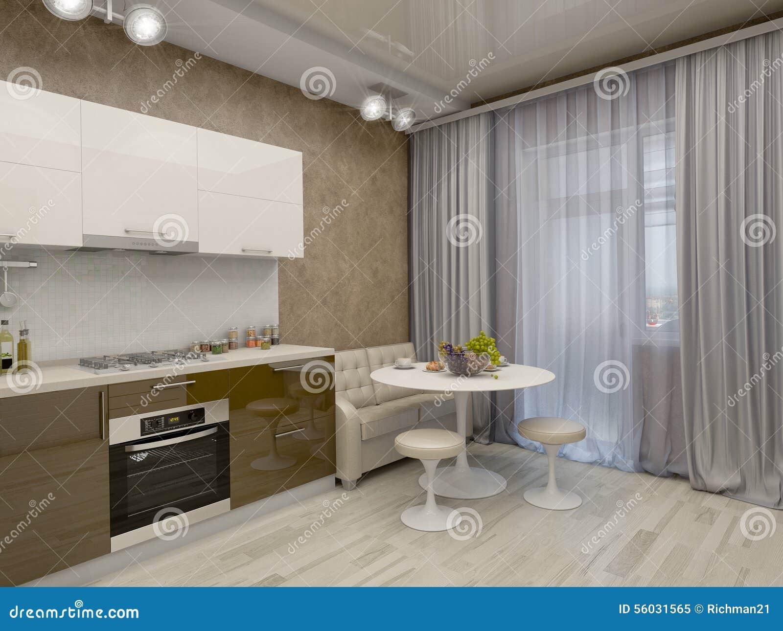 3d Illustratie Van Een Keuken In Beige Tonen Stock Illustratie ...