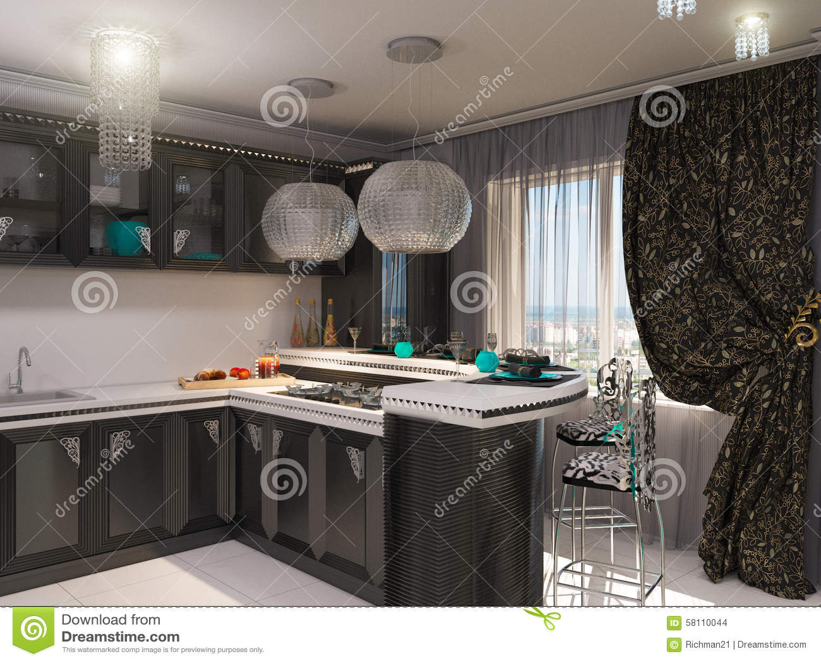 D illustratie van een keuken in stijl van een art deco stock
