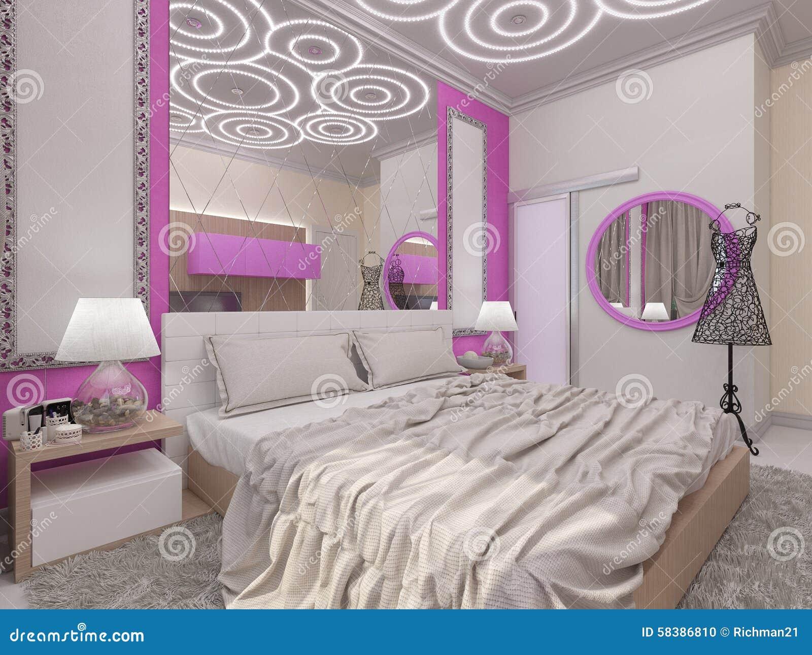 3d illustratie van een slaapkamer voor het jonge meisje stock