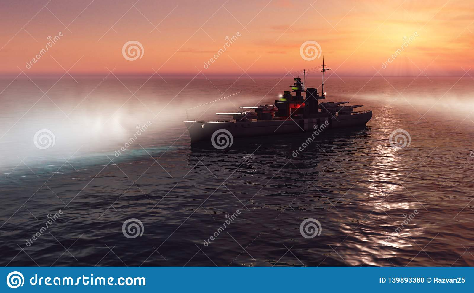 3d illustratie van een slagschip in de open oceaan bij zonsondergang