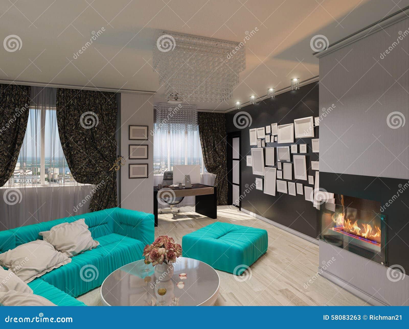 3d illustratie van een woonkamer in stijl van een art deco stock illustratie afbeelding 58083263 for Deco van woonkamer design