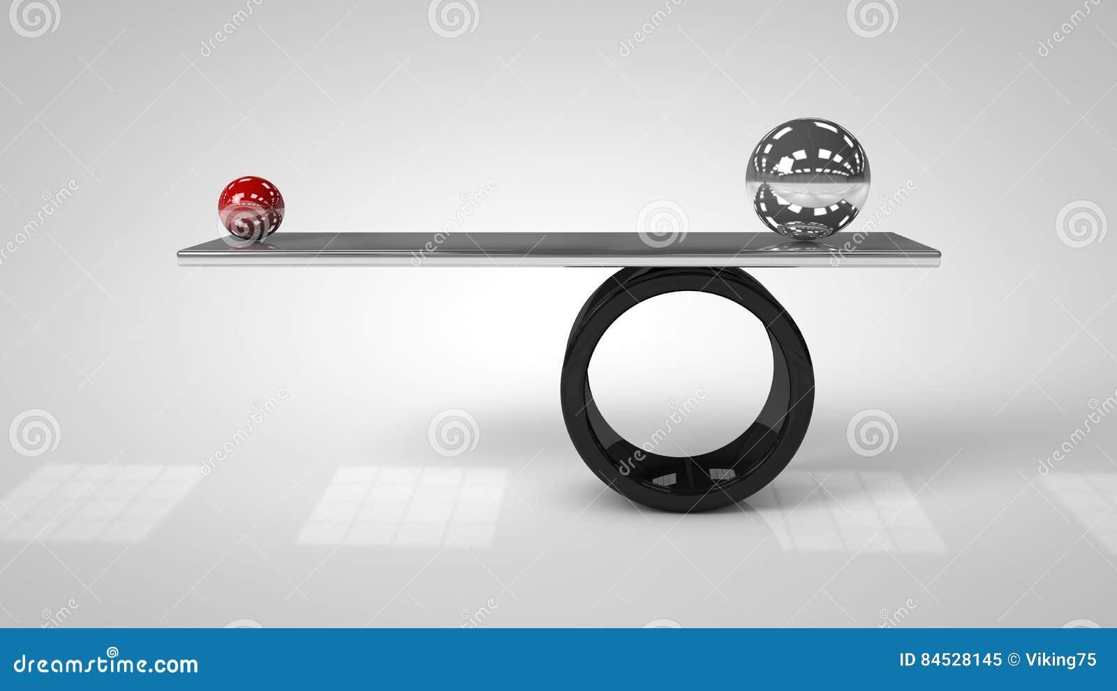 3d illustratie van In evenwicht brengende ballen aan boord van conceptie