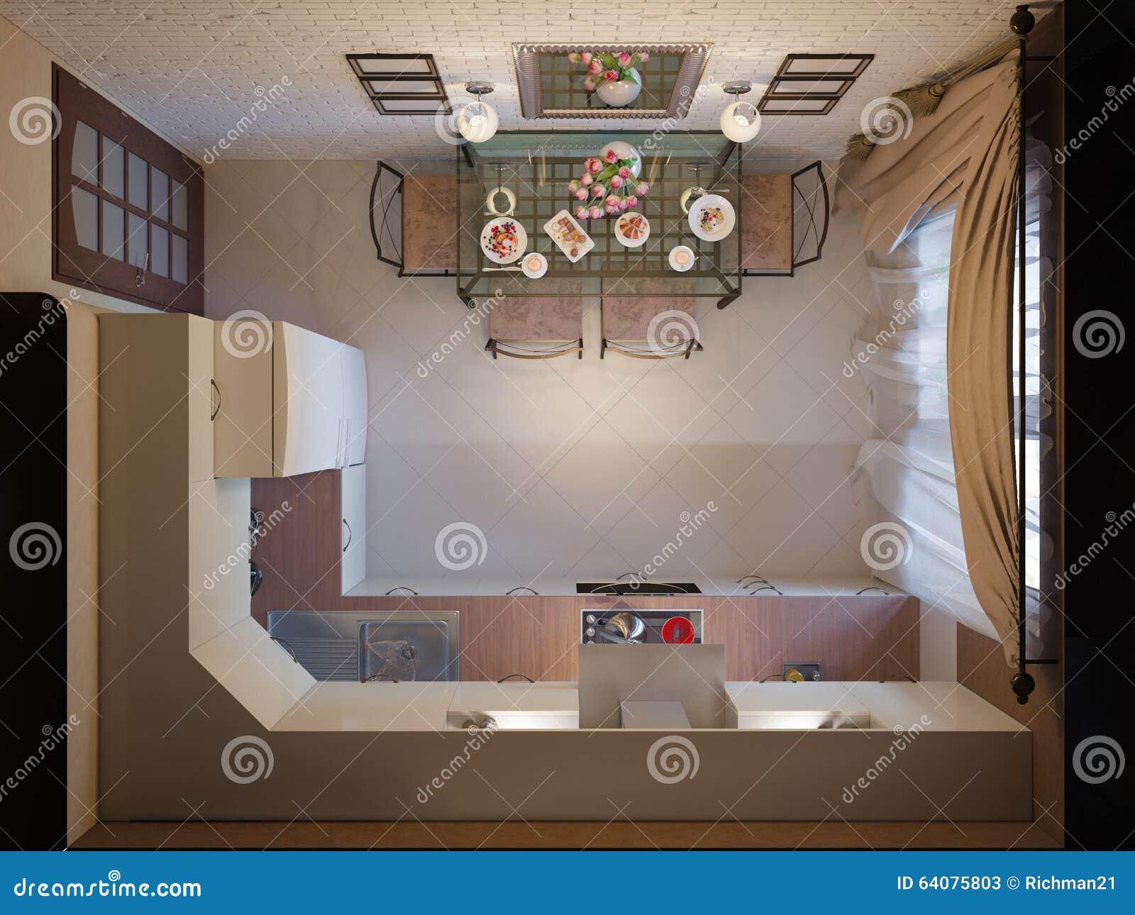 3d illustratie van keuken met beige voorgevels en meubilair van smeedstuk stock illustratie - Center meubilair keuken ...
