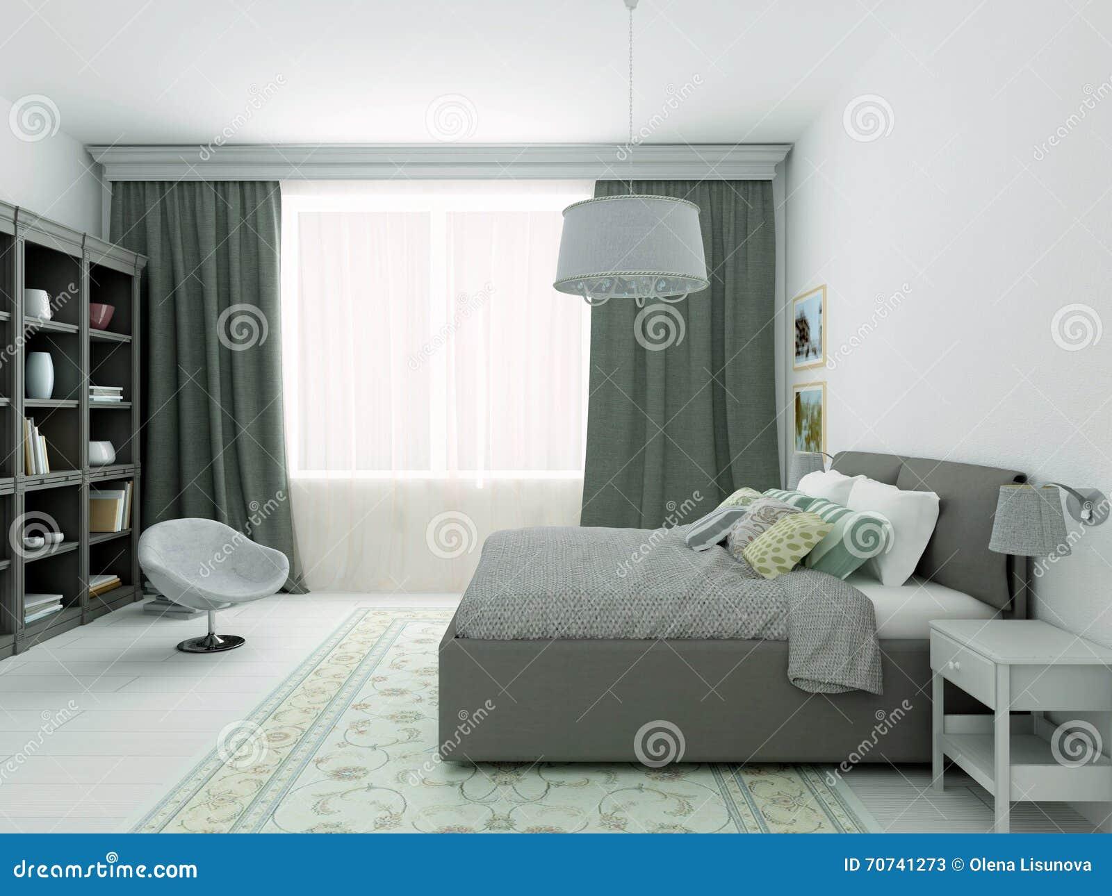 Slaapkamer Kleuren Grijs : 3d illustratie van klassieke slaapkamer in grijze kleuren stock