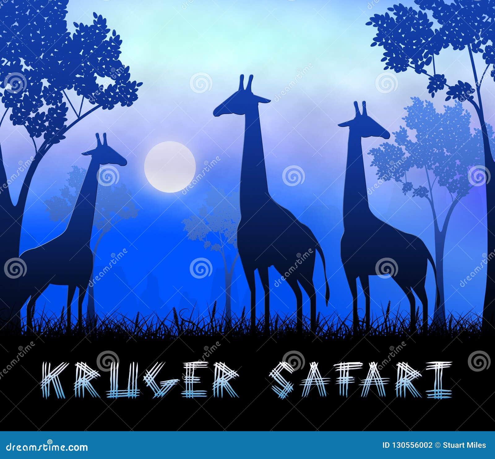 3d Illustratie van Krugersafari showing wildlife reserve