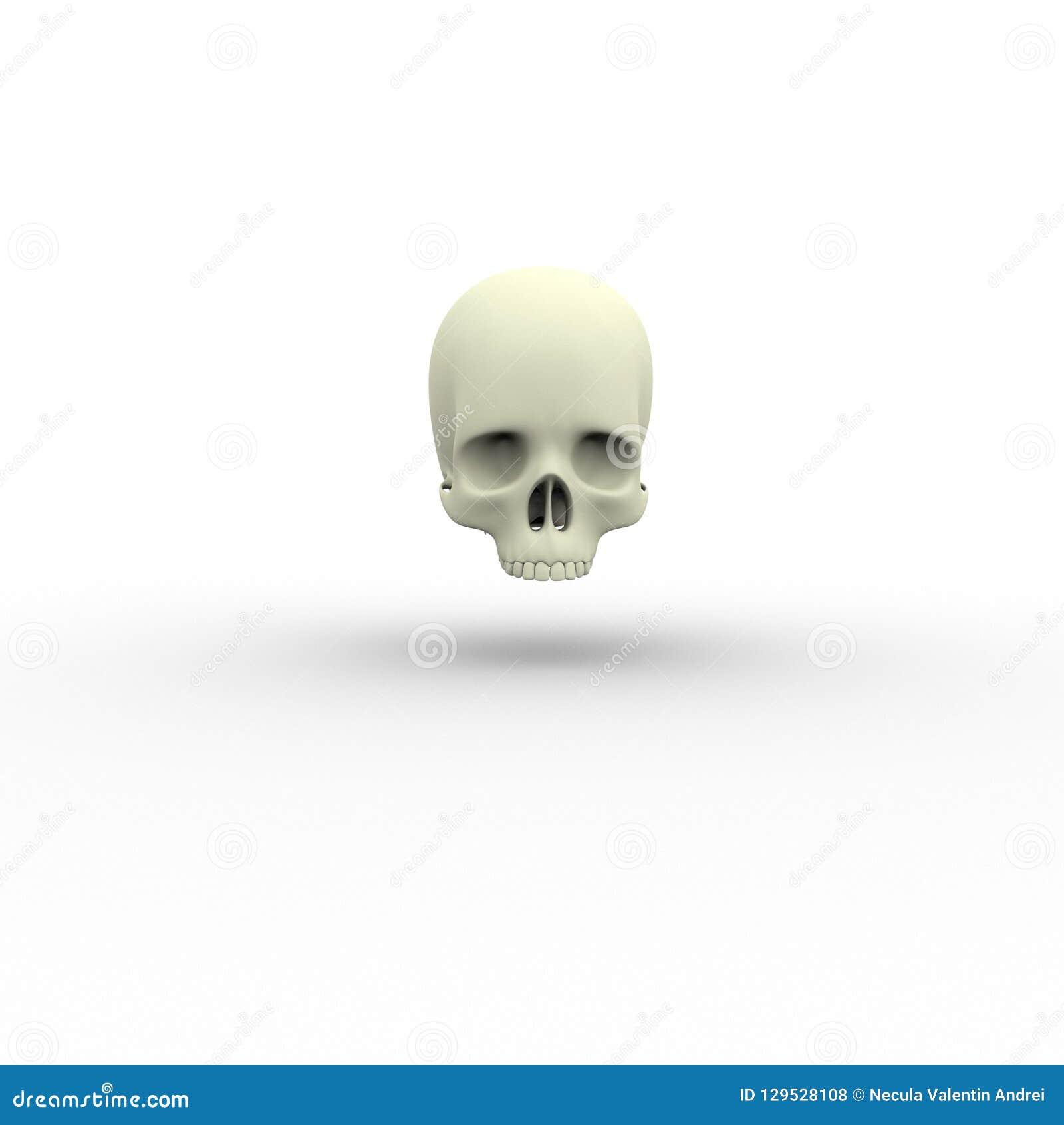 3d illustratie van menselijk lichaams skeletachtige schedel