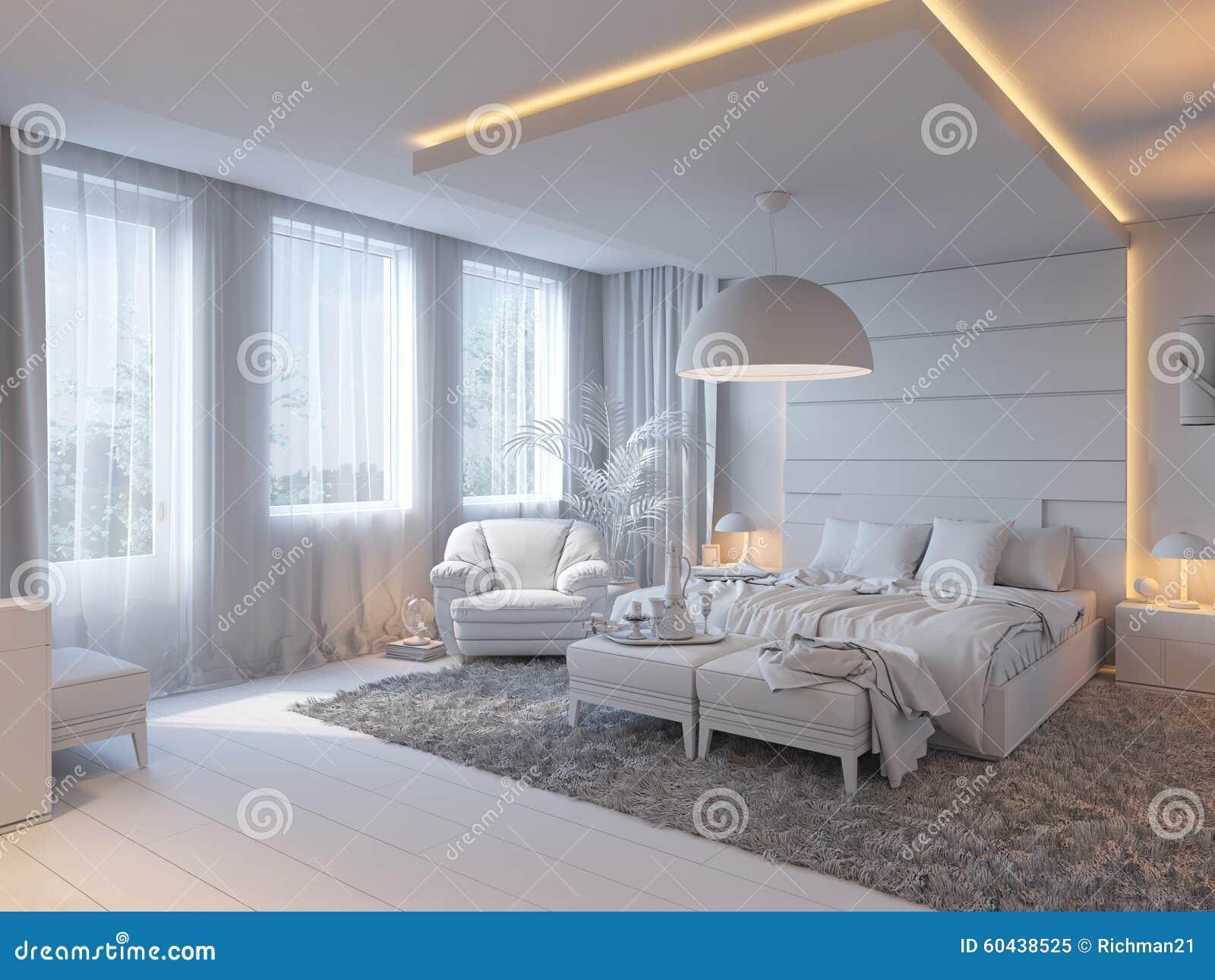 3d illustratie van slaapkamers in bruine kleur stock illustratie afbeelding 60438525 - Slaapkamer kleur idee ...