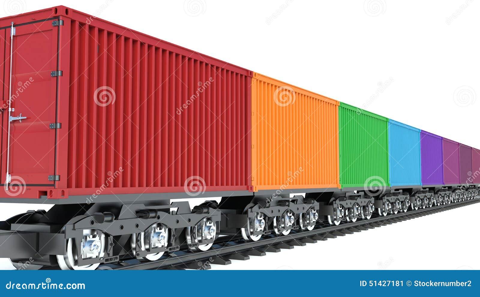 3d illustratie van wagen van goederentrein met containers