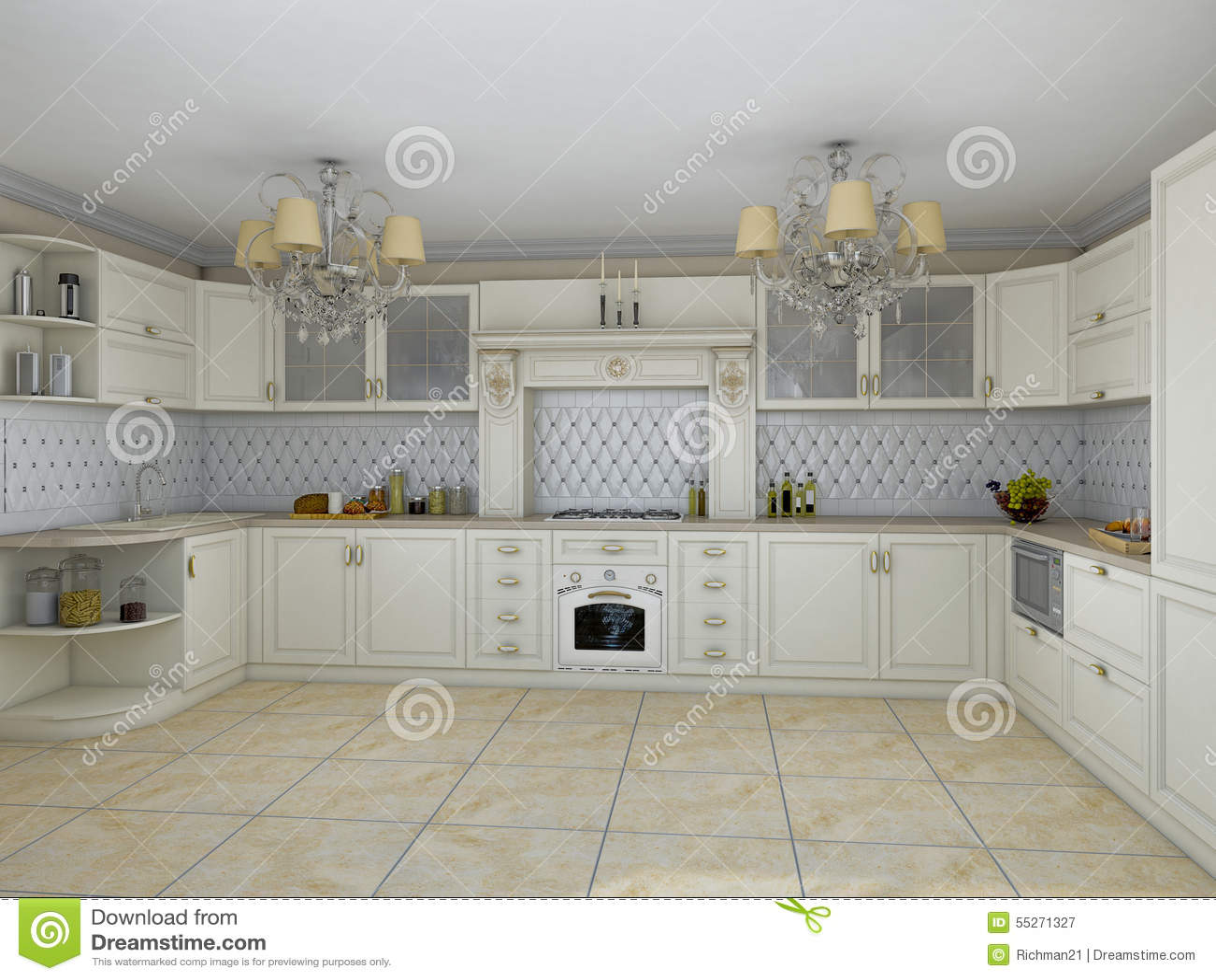 D illustratie van witte keuken in klassieke stijl stock