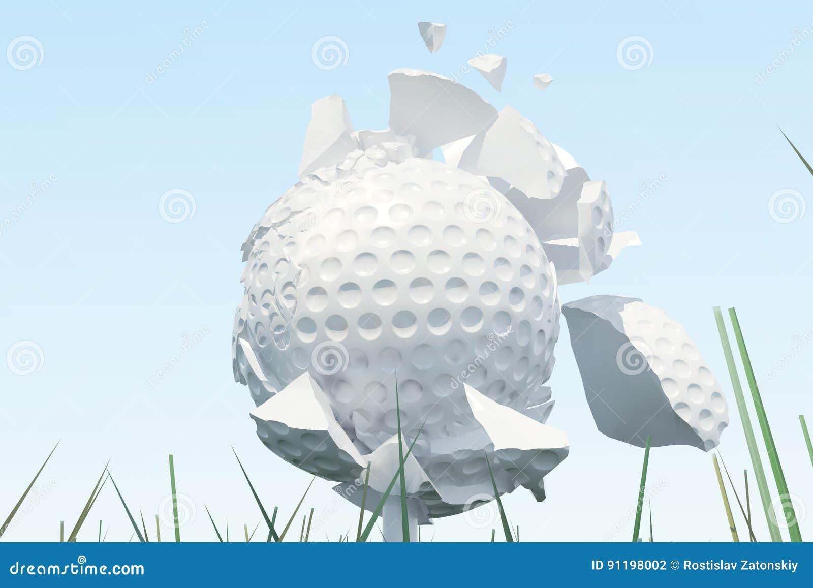 3D illustratiegolfbal verspreidt zich aan stukken nadat een sterke slag en een bal in gras, omhoog mening over T-stuk klaar te zi