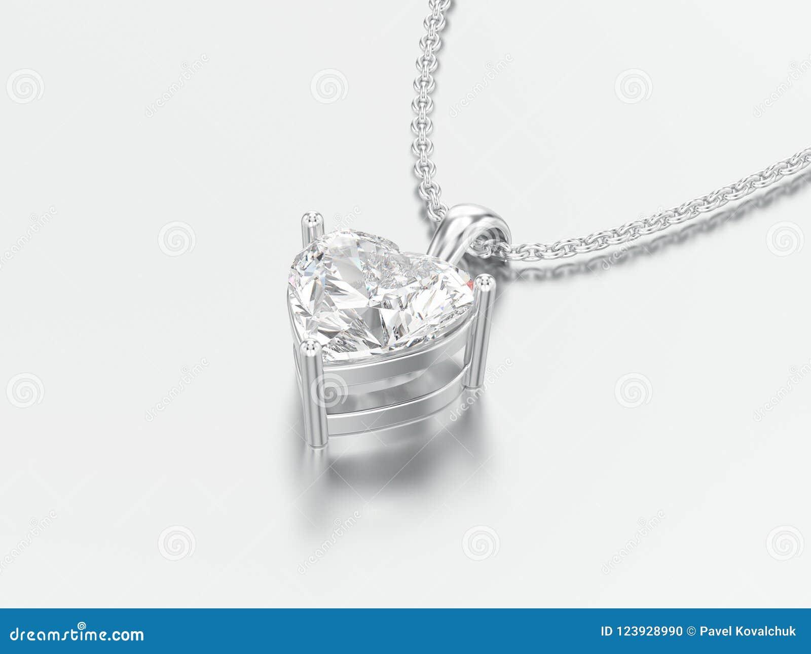 3D illustratiewitgoud of de zilveren grote halsband van de hartdiamant