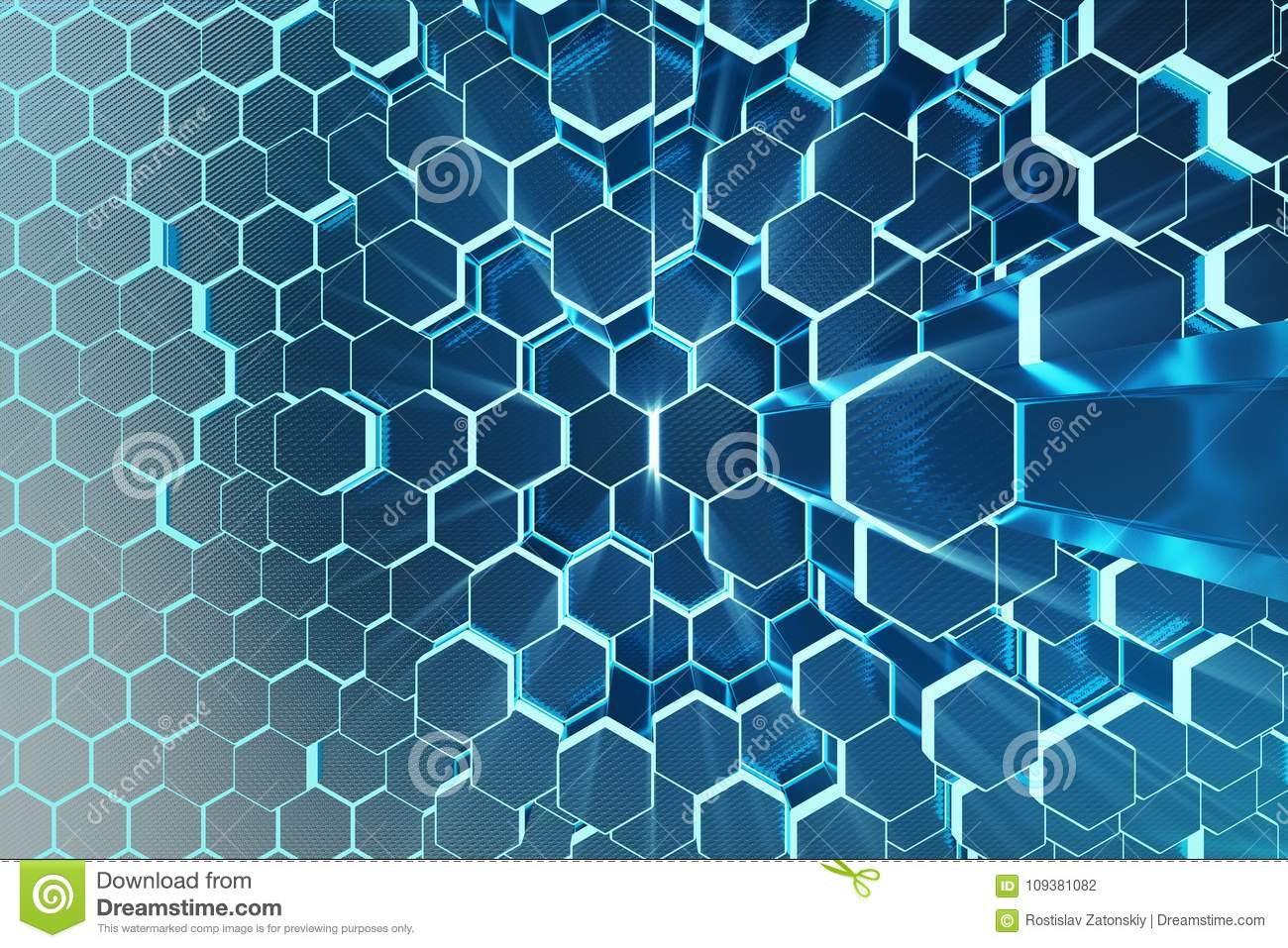 3D illustration Abstract blue of futuristic surface hexagon pattern with light rays. Blue tint hexagonal background.