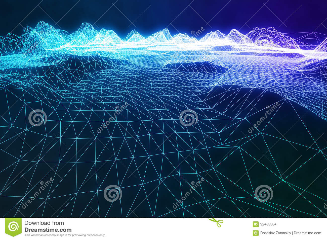 3D illustration abstract digital wireframe landscape. Cyberspace landscape grid. 3d technology. Abstract internet