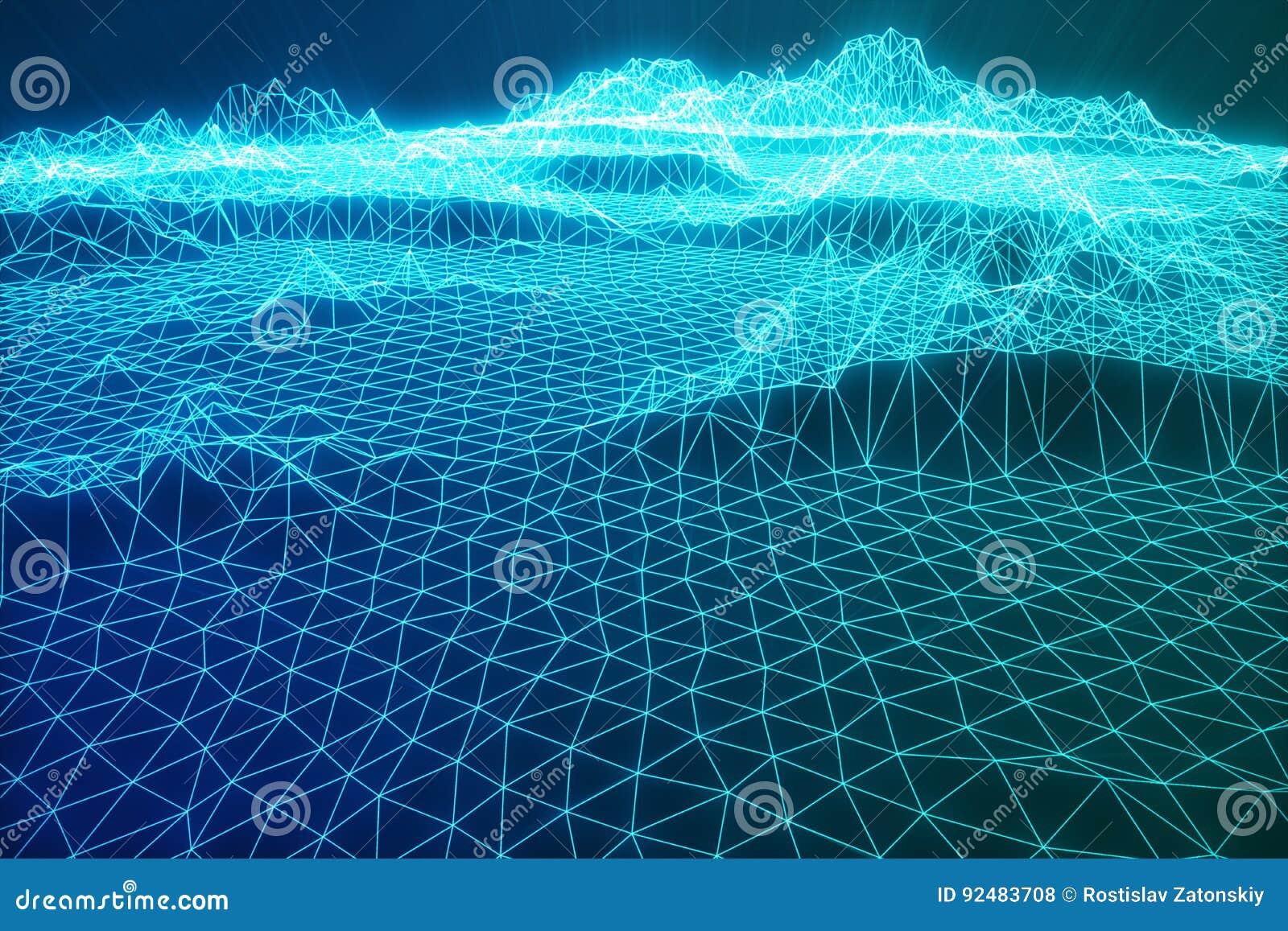 3D Illustration Abstract Digital Wireframe Landscape. Cyberspace Landscape Grid. 3d Technology