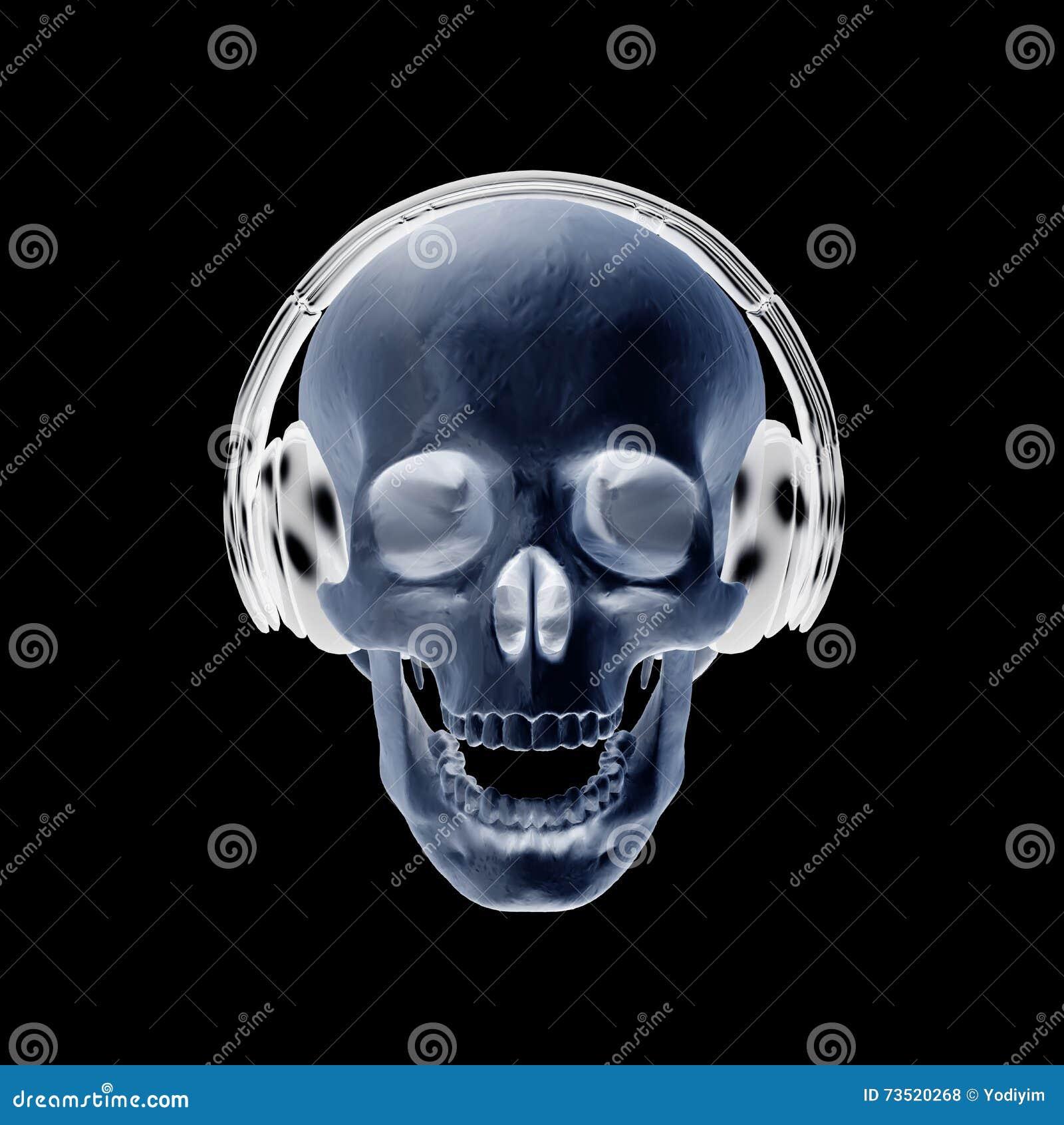 3d illustration abstract skull with headphone. stock illustration
