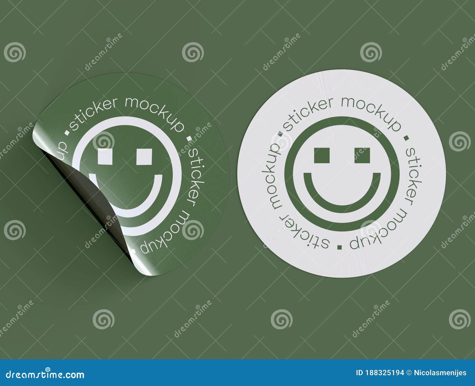 3d Illustration  Adhesive Stickers Mockup With Fold Edge Stock Illustration
