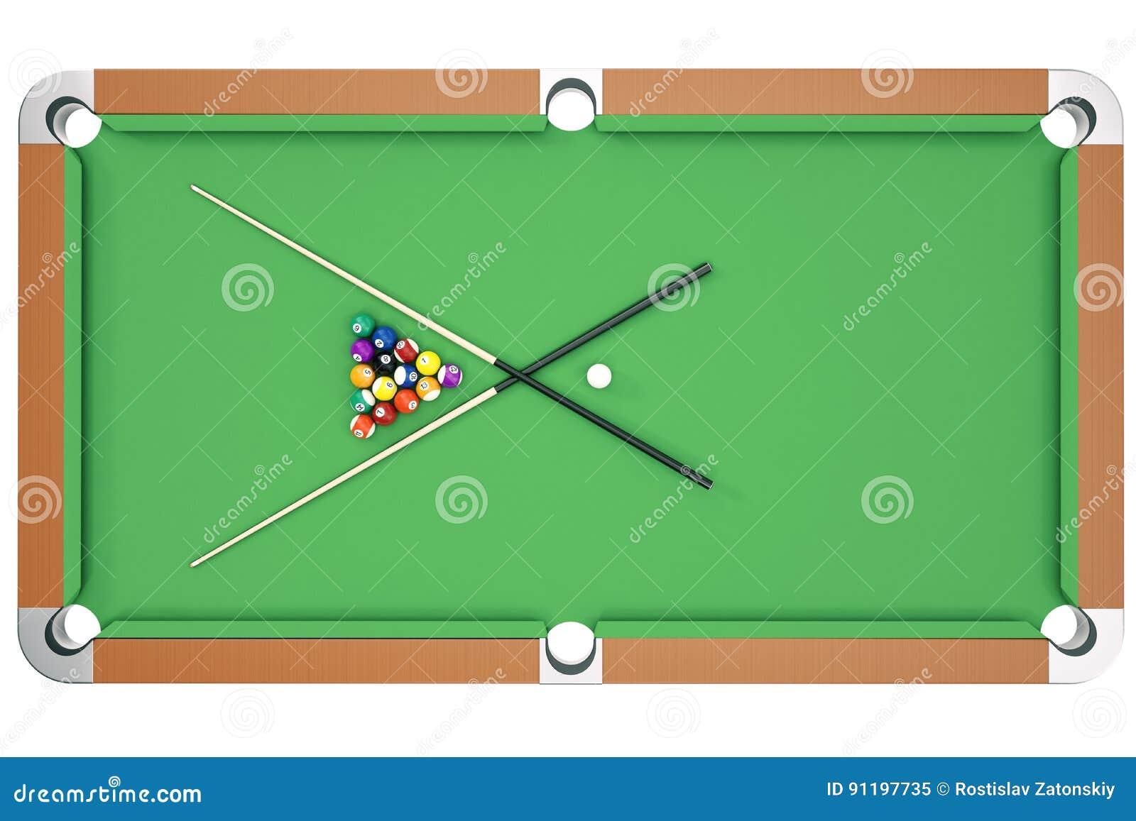 3d Illustration American Pool Snooker Balls Background