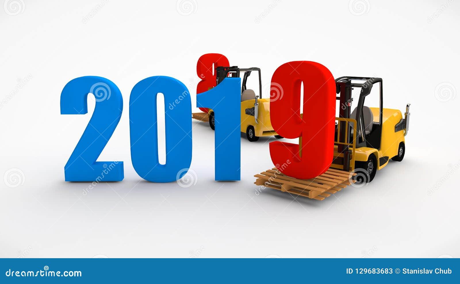 D-illustration av en gaffeltruck som rymmer datumet 2019 och tar bort 2018 och 2020 Trans.tid Idén för kalendern, 3D ren