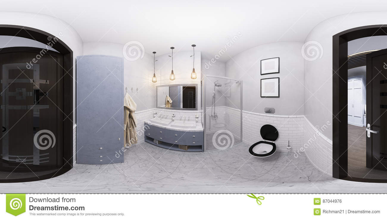 3d Illustration Of A Bathroom Interior Design Stock Illustration Illustration Of Architecture Mirror 87044976