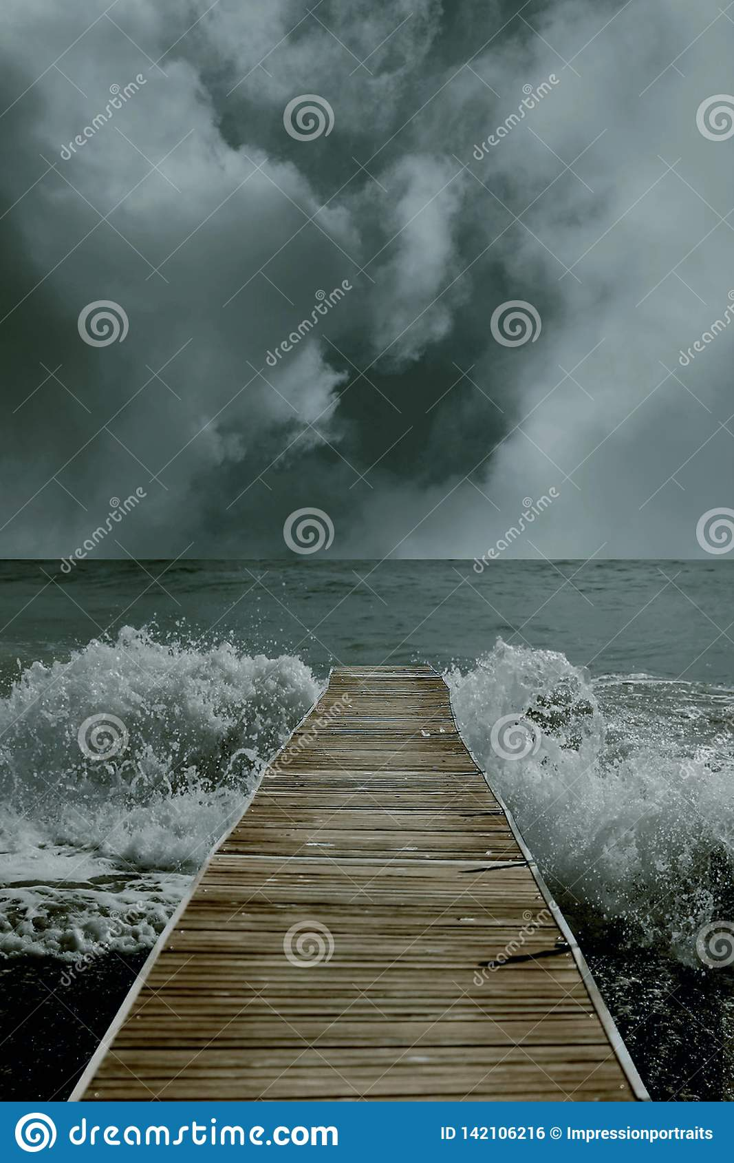 3D illustration of a bay leading to the ocean with horizon and waves