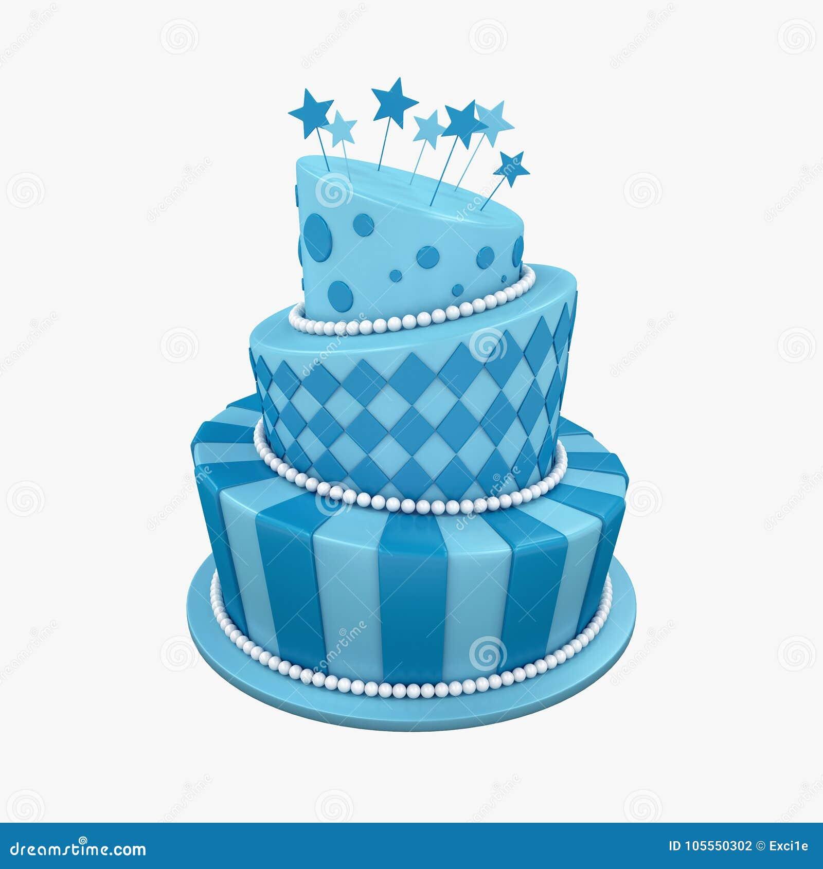 3d Illustration Of Big Birthday Holiday Three Floor Cake