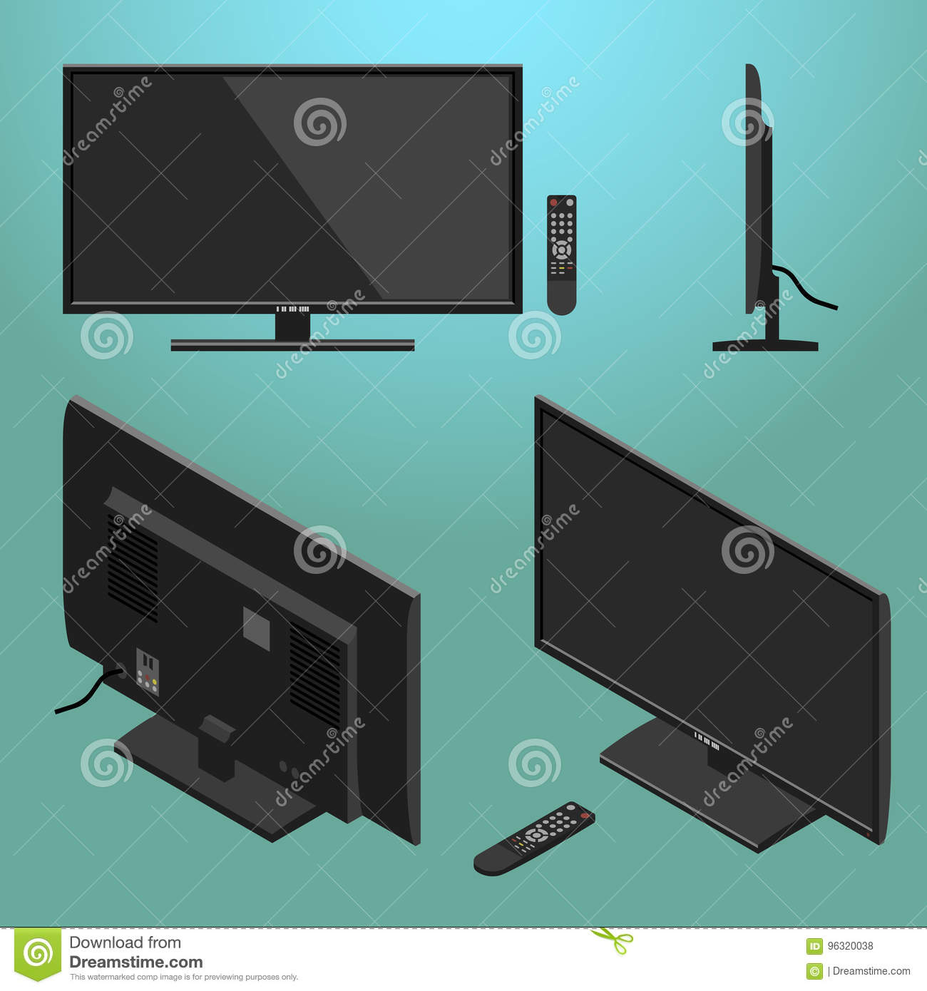 3D Illustration Of Black Modern LED TV With Remote Control Isometric