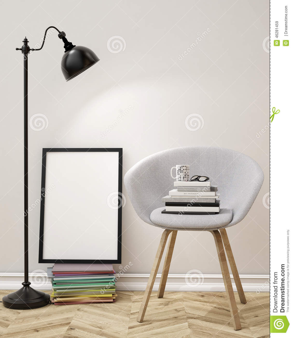 3d illustration of blank poster on the wall of living room template