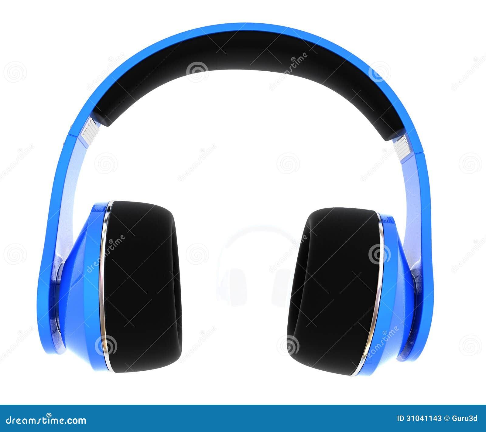 3d illustration of blue headphones isolated on white background stock