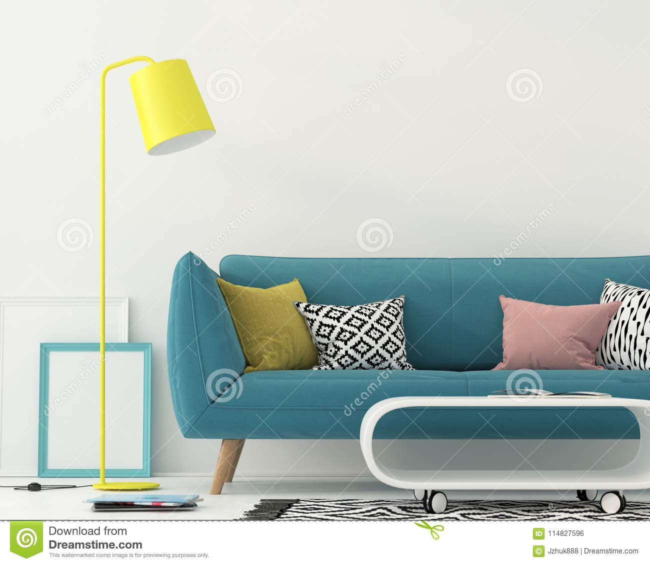 Living Room With A Blue Sofa Stock Illustration Illustration Of Apartment Blue 114827596