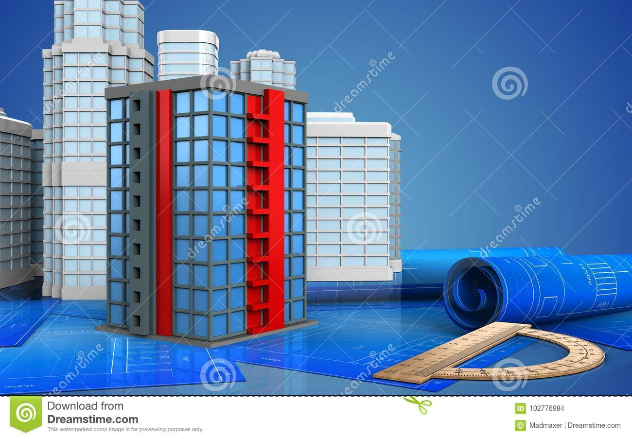 3d stock illustration  Illustration of paper, buildings