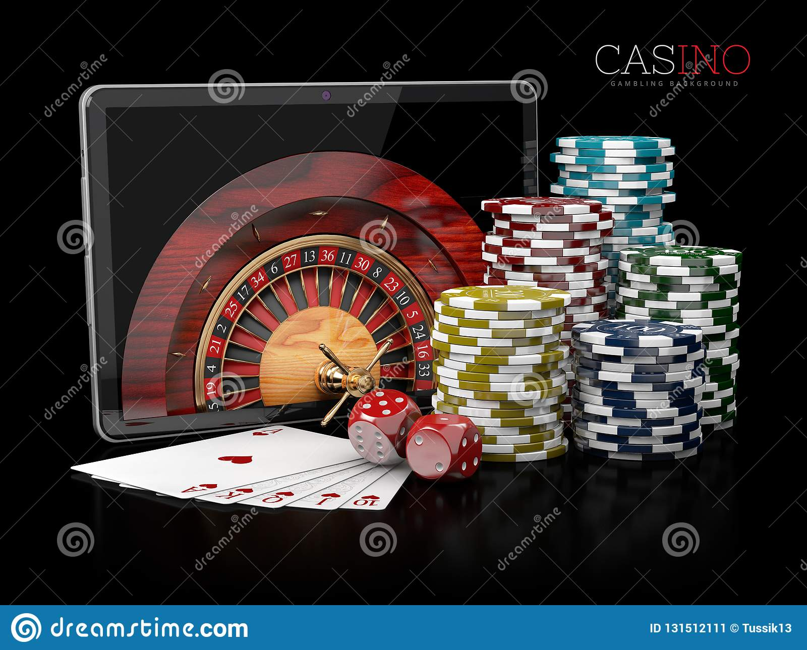 3d Illustration of Casino background with tablet, dice, cards, roulette and chips.
