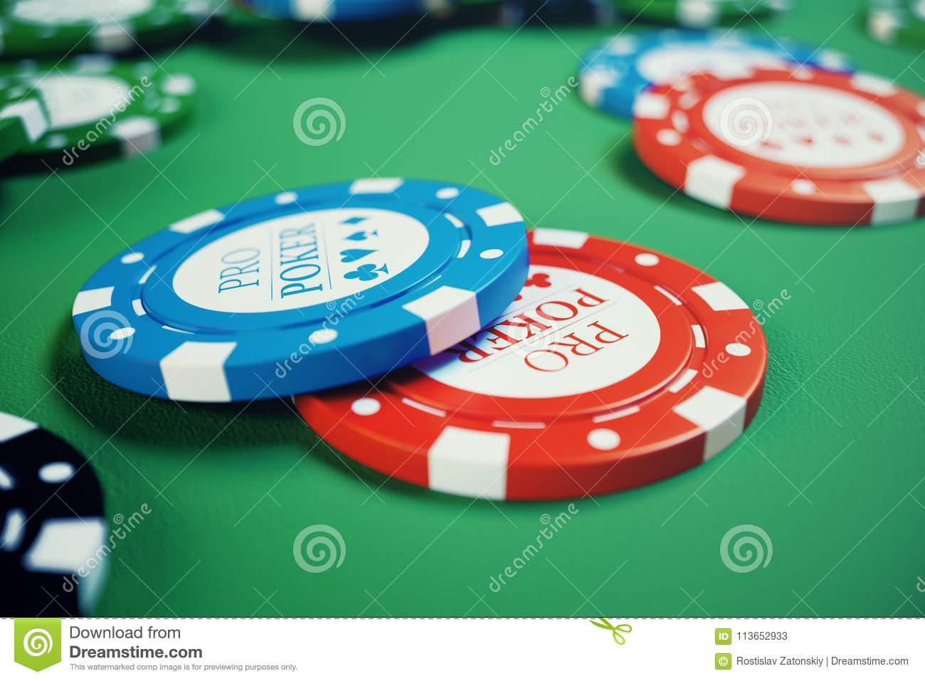 3D illustration casino game. Chips, playing cards for poker. Poker chips, red dice and money on green table. Online