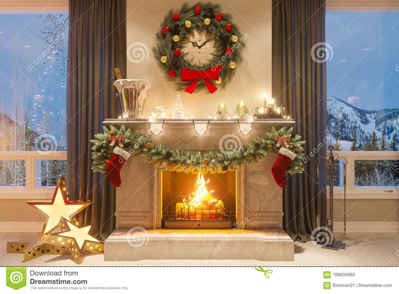 3d illustration of a Christmas interior with a fireplace and gifts. An image for a postcard or a poster.