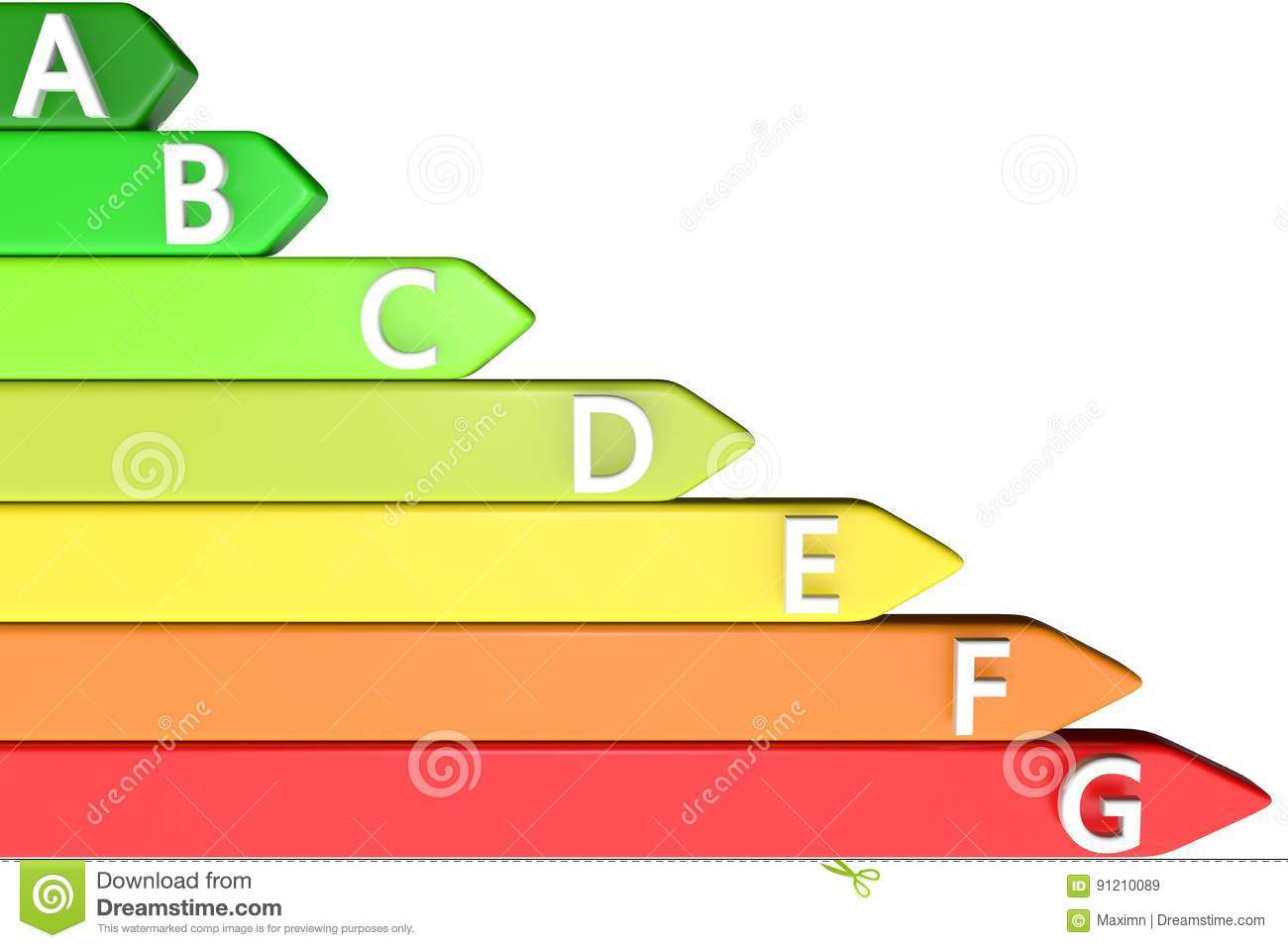 3d illustration the color chart green yellow orange red of 3d illustration the color chart green yellow orange red of energy efficiency with text symbol abc letter on a white back nvjuhfo Gallery