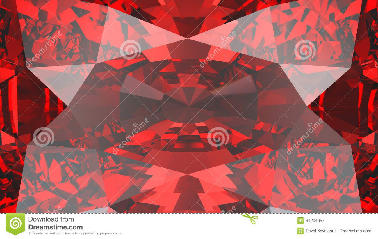 3D illustration crop red ruby diamond texture zoom