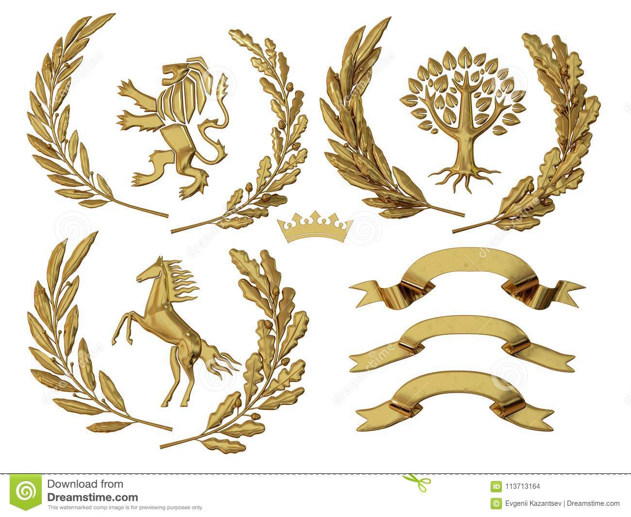 3D illustration of heraldry. A set of objects. Golden olive branches, oak branches, crowns, lion, horse, tree