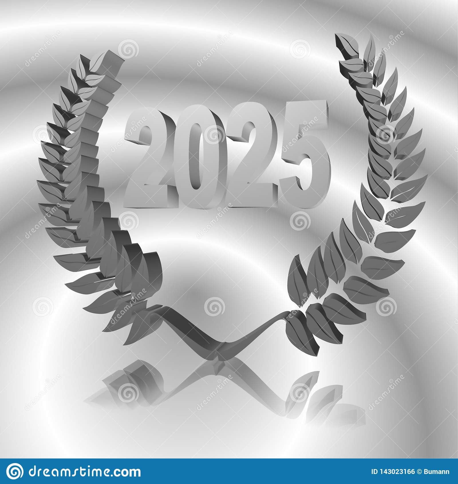 3D Illustration: A laurel wreath with the number 2025, symbol image for a jubilee, anniversaries, successes