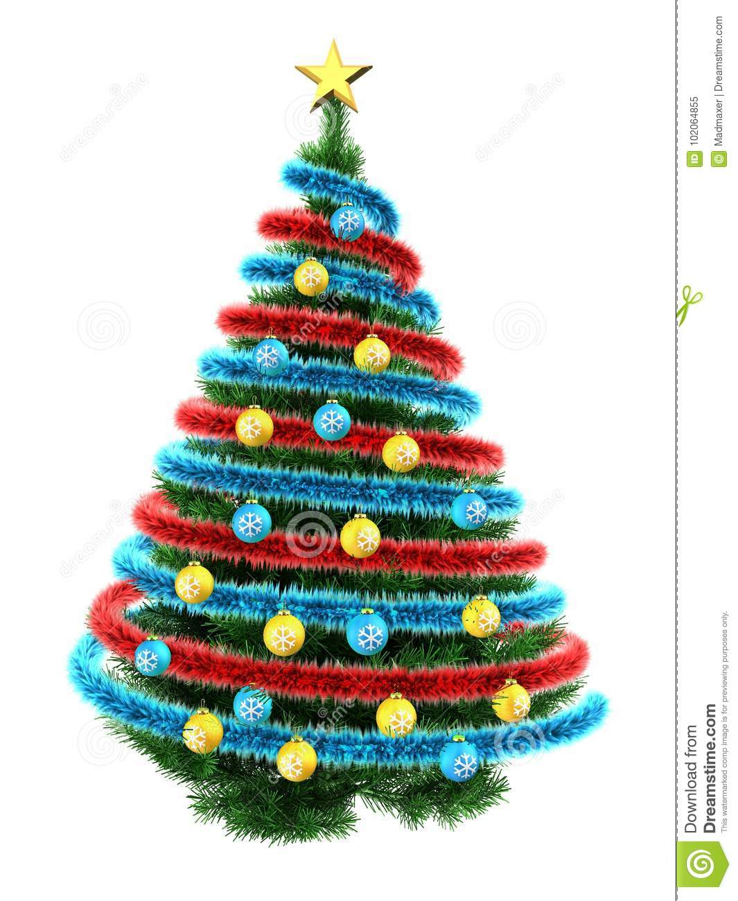 Blue And Green Christmas Tree: 3d Tinsel Blue Stock Illustration. Illustration Of