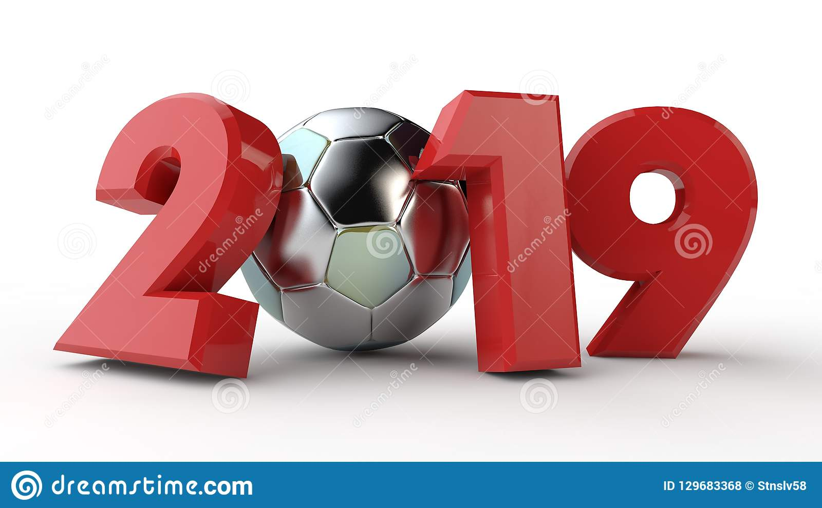 2019 Soccer Calendar 3D Illustration Of 2019 Date, With A Soccer Ball. The Idea For The