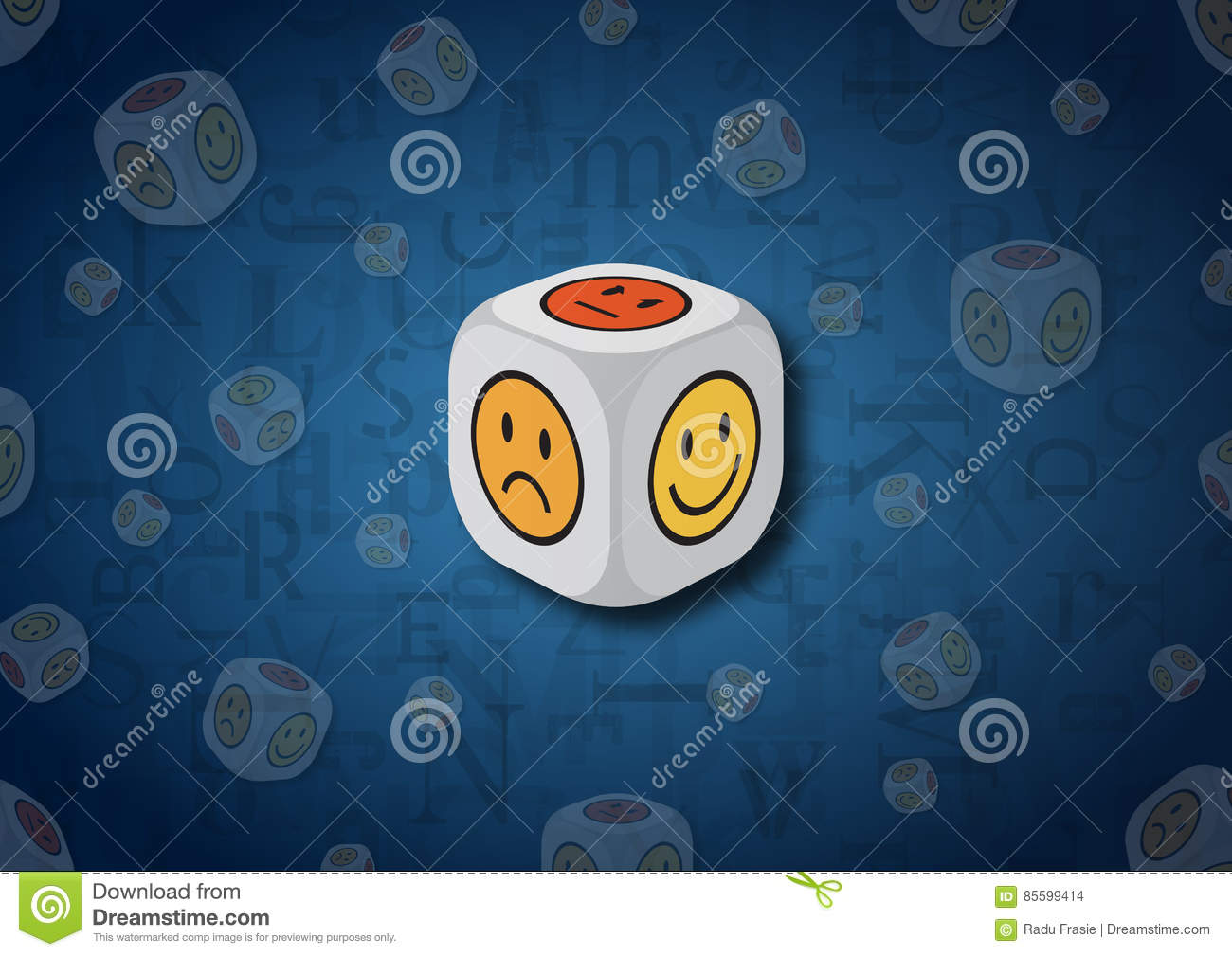 A 3d Illustration Of A Dice With Emotion Symbols Stock Illustration