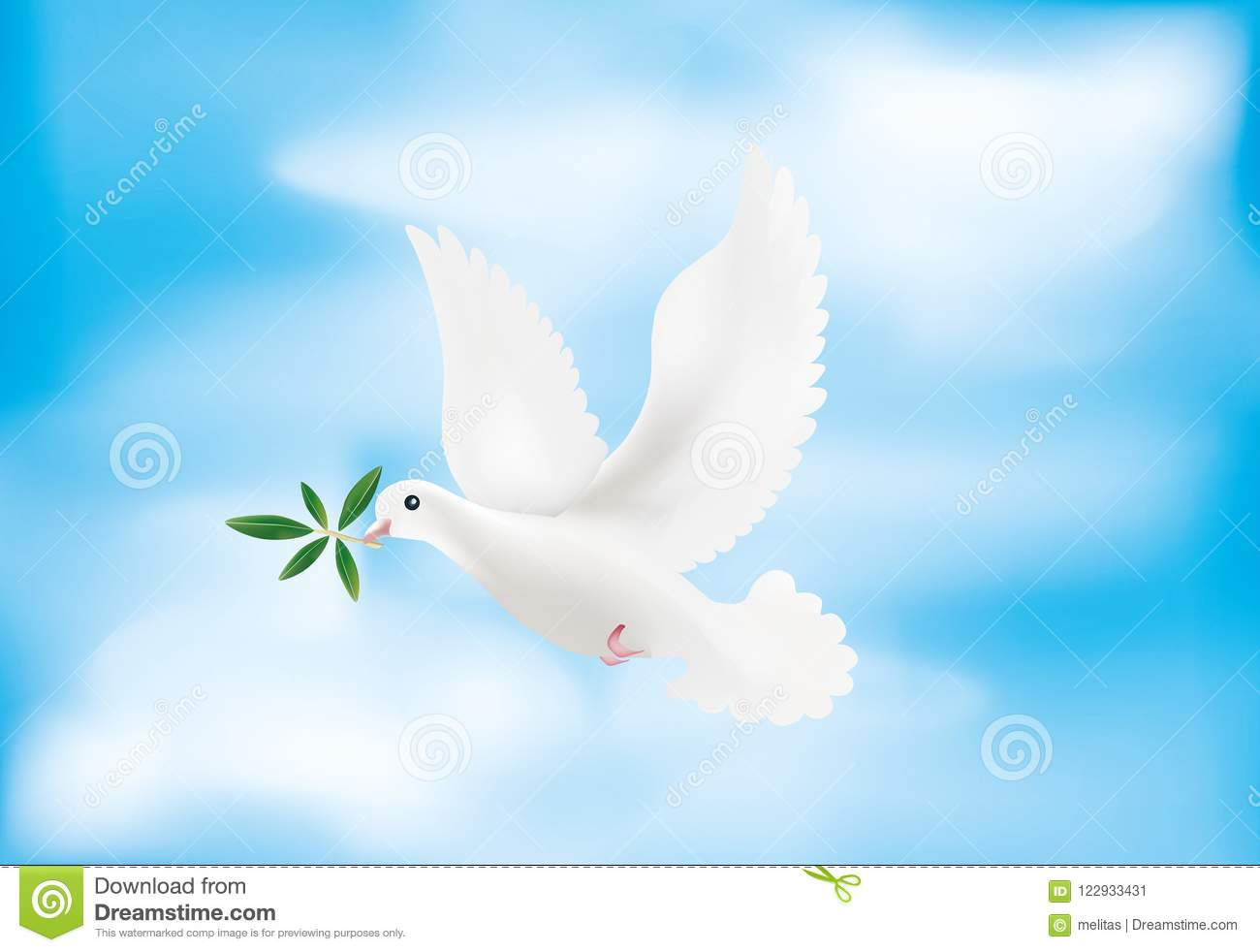 3d Illustration With Dove And Olive Branch With Sky Background Symbol Of Peace Stock Illustration Illustration Of Sign Noah 122933431