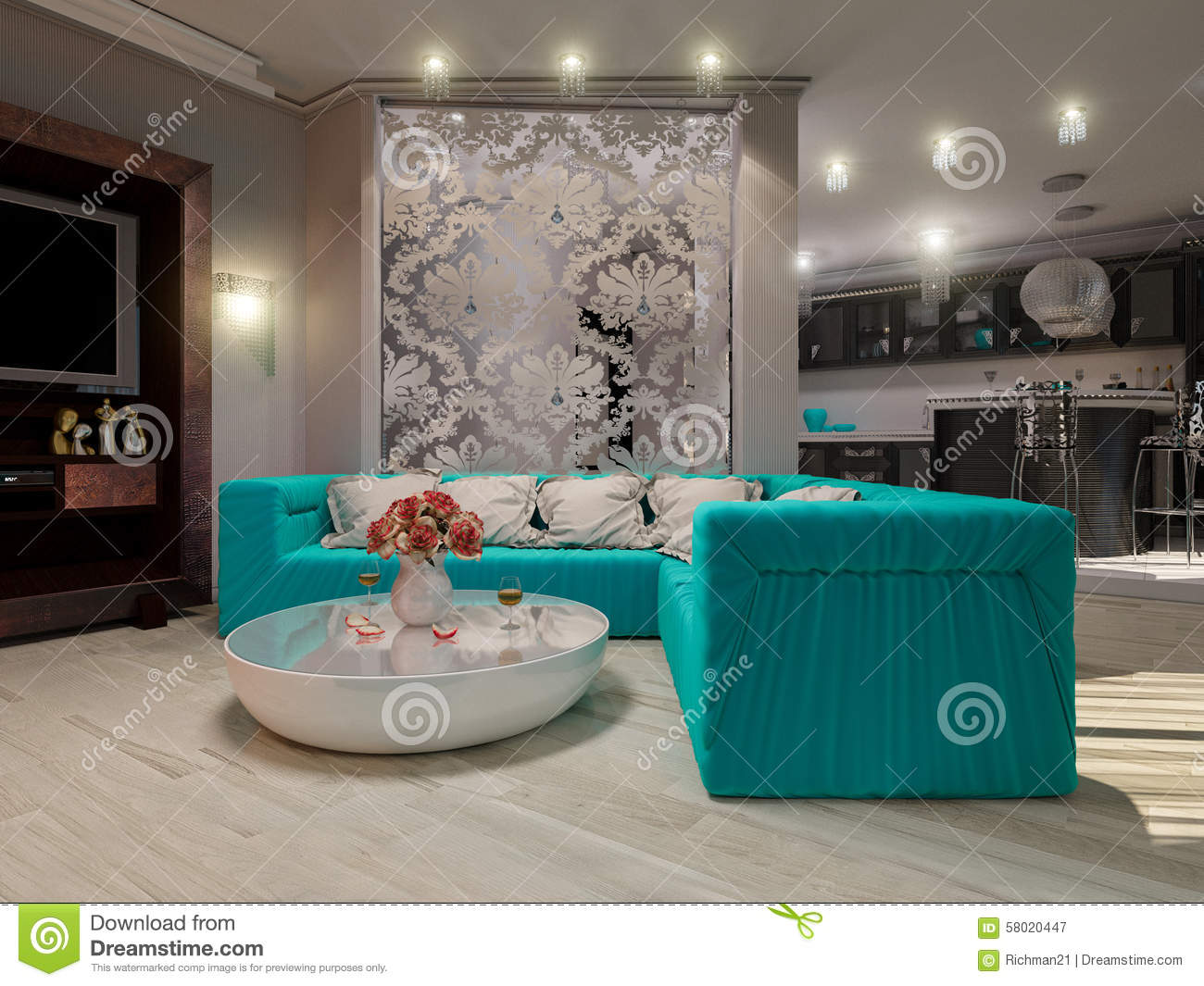 3D Illustration Of A Drawing Room And Kitchen In Style Of An Art ...
